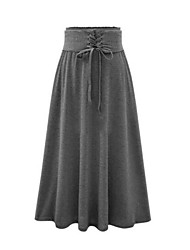Women's Solid Black / Gray Skirts,Vintage Knee-length