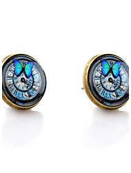 Lureme® Vintage Jewelry Time Gem Series Butterfly and Clock Antique Bronze Stud Earrings for Women and Girls