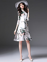 Women's Simple Print Sheath Dress,Stand Knee-length Silk / Nylon