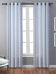 One Panel Modern Geometic Multi-color Bedroom Polyester Panel Curtains Drapes 52 inch Per Panel