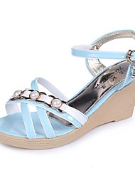 Women's Shoes Leatherette Wedge Heel Wedges / Peep Toe / Round Toe Sandals Outdoor / Casual Blue / Pink / Beige