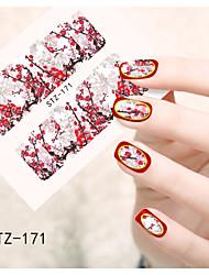 1pcs  Water Transfer Nail Art Stickers Paris Iron Tower  Lady Beautiful  Flower Nail Art Design STZ171-175