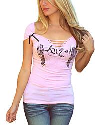 Damen Druck Einfach / Street Schick Ausgehen T-shirt,V-Ausschnitt Kurzarm Rosa Baumwolle Dünn