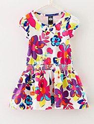 Girls Flower Print  100% Cotton Sundress Party  Holiday Cute Baby Children Clothes Dresses