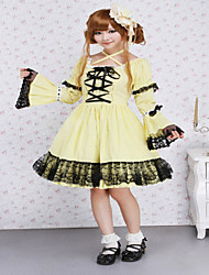 Steampunk®Cotton Yellow Lace Gothic Lolita Dress