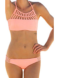 Women's Bandeau Bikinis,Solid Padded Bras Spandex Pink