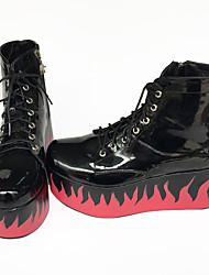 Gótica Algodão 7 Salto Plataforma Preto Lolita Shoes