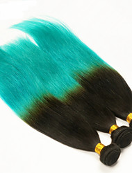 1B/green Ombre Hair Extensions 7A Ombre Peruvian Human Hair Weave Bundles 3 Pcs Lot Teal Ombre Peruvian Straight Hair