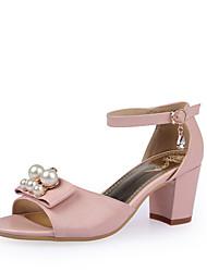 Zapatos de mujer-Tacón Robusto-Tacones-Sandalias-Vestido / Casual / Fiesta y Noche-Semicuero-Rosa / Blanco