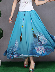 Women's Print Blue / Pink / Green / Yellow Skirts,Casual / Day Maxi