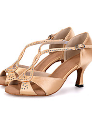 Customizable Women's Dance Shoes Latin Leatherette Flared Heel