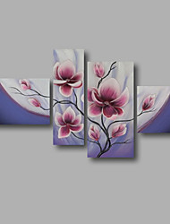 "Stretched (ready to hang) Hand-painted Oil Painting 64""x40"" Canvas Wall Art Modern Purple Pink Magnolia"