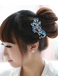 Blue Peacock Hair Combs Rhinestone Wedding/Party Headpiece Hair Comb for Wedding Party Hair Jewelry