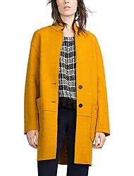 Women's Solid Blue / White / Yellow Coat,Simple Long Sleeve Polyester