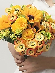 "Wedding Flowers Free-form Lavenders Bouquets Wedding / Party/ Evening Yellow Satin 11.02""(Approx.28cm)"