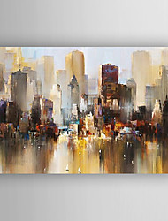 Oil Painting Abstract Landscape Building Hand Painted Canvas with Stretched Framed Ready to Hang