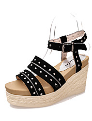 Women's Shoes Leatherette Wedge Heel Wedges / Peep Toe / Platform / Round Toe Sandals Outdoor / Casual Black / Yellow