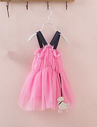 Girl's Lovely Tulle Layered High Waist Strap Dress(Mesh)