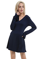 JANSA™ Women's Solid Long Sleeve Dresses,V Neck Sexy Horn Sleeve