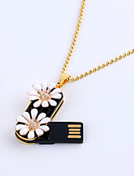 8gb collier bijoux fleur marguerite USB 2.0 Flash rotatif memory stick disque u disque ZP-02