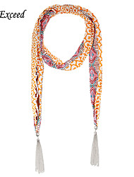 D Exceed Skinny Print Chiffon Scarfs Tassel Pendant Necklace Scarf Fashion Headband Jewelry Accessory for Women