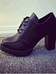 Women's Shoes Leatherette Chunky Heel Heels Heels Outdoor / Casual Black
