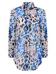 Women's Geometric Multi-color Chiffon Shirt,Shirt Collar Long Sleeve