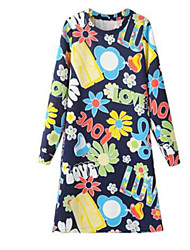 Women's Street chic Floral A Line Dress,Round Neck Midi Polyester