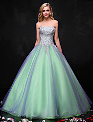 Princess Wedding Dress Wedding Dresses in Color Floor-length Strapless Organza with Beading / Crystal / Lace / Pattern
