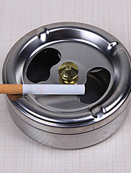 Practical Smoking Stainless Steel Ashtray Lid Rotation Fully Enclosed Home Gadgets
