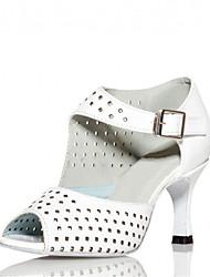 Chaussures de danse(Noir Blanc) -Personnalisables-Talon Personnalisé-Satin-Latine Salsa