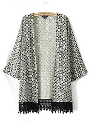 Women's Geometric White Cloak/Capes,Vintage / Street chic ¾ Sleeve Lace fringed kimono-style jacket Coat