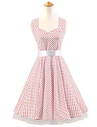 50s Era Vintage Style Halterneck Rockabilly Dress Cosplay Costume White Red Mini Polka Dot (with Petticoat)