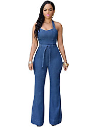 Women's Patchwork Blue Jumpsuits,Sexy / Casual / Day Halter Sleeveless