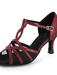 Customizable Women's Dance Shoes Latin Leatherette Customized Heel Red / Gray