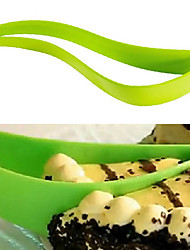 Plastic Leaf Shape Pie Slicer Sheet Guide Server Bread Slice Cake Cutting Cutter Knife
