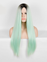 Popular! Top Quality Light Green Color Long Straight Synthetic Wigs