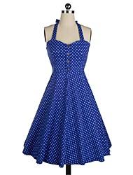 Lolita classique & traditionnelle Sans manche Moyen Bleu Coton Lolita