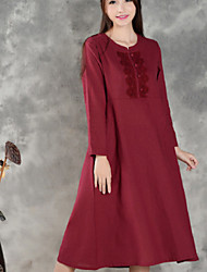 Women's Vintage Tunic Dress,Jacquard Round Neck Midi Long Sleeve Red Cotton / Linen Spring