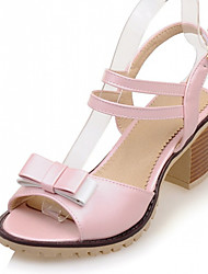 Women's Shoes Leatherette Chunky Heel Peep Toe Sandals Outdoor / Office & Career / Party & Evening Blue / Pink / Beige