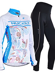 Nuckily Cycling Jersey with Tights Men's Women's Long Sleeves Bike Sleeves Clothing Suits Thermal / Warm Windproof Anatomic Design Fleece