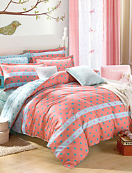 Polka Dot 100% Cotton Bedclothes 4pcs Bedding Set Queen Size Duvet Cover Set