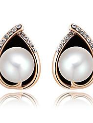 Women's Fashion  Set Auger Teardrop-Shaped Pearl Stud Earrings