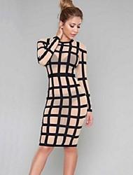 Women's Vintage / Simple Fashion Club Classics Check Sheath Dress,Round Neck Knee-length