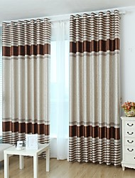 Two Panels Modern Stripe Room Polyester Blackout Curtains Drapes