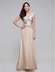 Formal Evening Dress Sheath / Column Straps Ankle-length Chiffon with Sequins