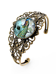 Lureme® Vintage Jewelry Time Gem Series Peacock Flowers Antique Bronze Hollow Flower Open Bangle Bracelet for Women