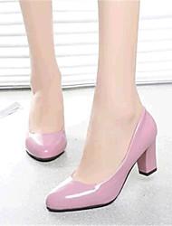 Черный / Розовый / Фиолетовый-Женская обувь-Для прогулок / На каждый день-Дерматин-На толстом каблуке-На каблуках-Обувь на каблуках