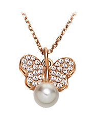 Women's Couple's Pendant Necklaces Pearl Necklace Crystal Pearl Crystal Imitation Pearl Cubic Zirconia Alloy Fashion AdorableSilver