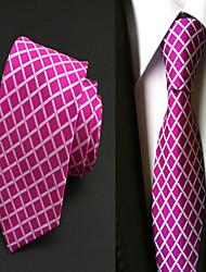 Corbata(Rojo,Poliéster)-Cuadrícula